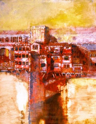 """The Bridge, Summer Haze II"" 14"" x 12"" acrylic on gesso panel, Private Collection"