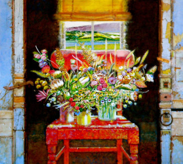 """""""The Irish Chair, Toward Letterkenny"""" acrylic on linen 44"""" x 44"""" Private Collection"""