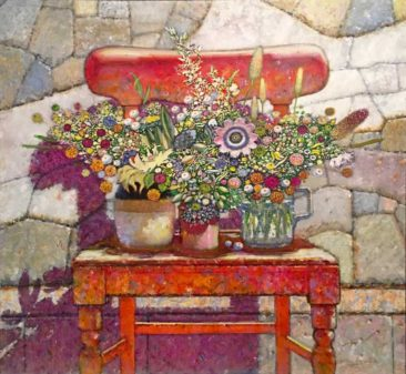 "The Irish Chair with Passion Flower, Acrylic on linen, 48"" x 52"" Private Collection"