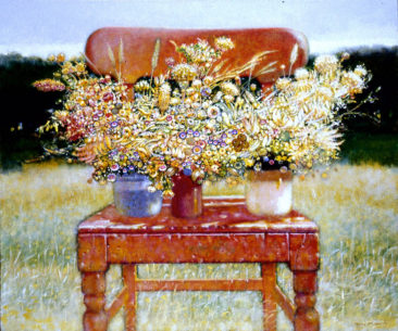 """The Irish Chair with Wildflowers II"" acrylic on linen 48""x 48"" Private Collection"