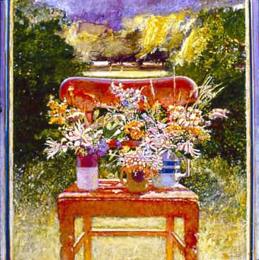 """The Irish Chair with Wildflowers"" acrylic and oil on linen 60"" x 44"" Private Collection"