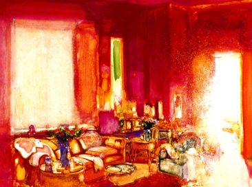 """The Red Room, Ischia"" acrylic on gesso panel 30"" x 40"", Private Collection"