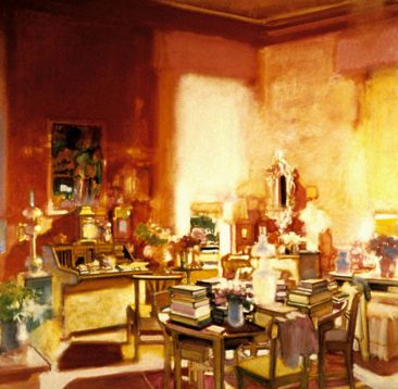 """The Red Room, Glenveagh"" acrylic on linen 48"" x 48"", Private Collection"